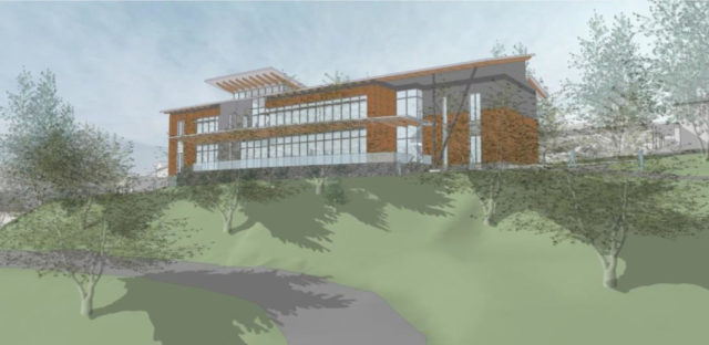 Lord Aeck Sargent rendering of the new academic building viewed from the Warren Wilson College Farm.