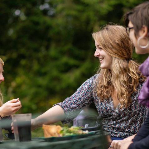 Students on Gladfelter patio