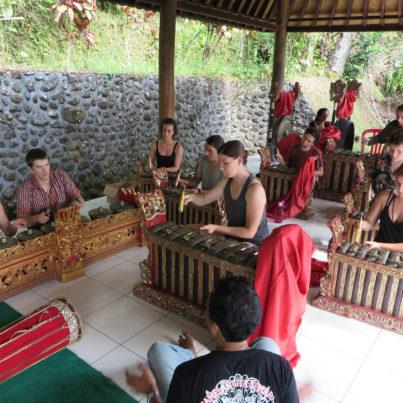 Students playing Gamelan music