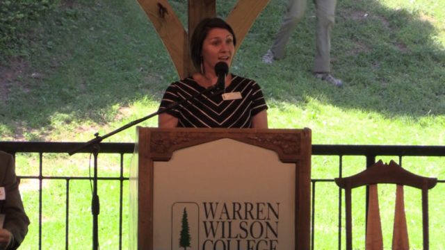 Associate Dean for Community Engagement Brooke Millsaps talks about the presidential search committee at the May 3, 2017, announcement event.