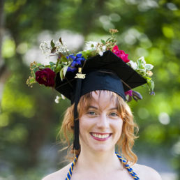 Mortarboard with flowers