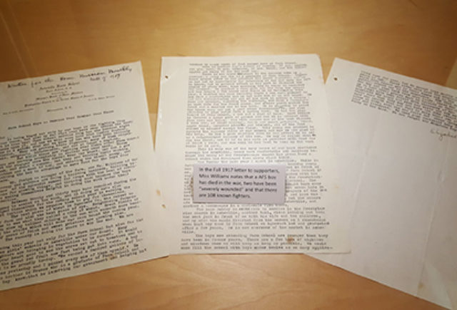 WW1-era Farm School letters