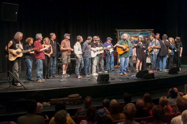 """The Swannanoa Gathering's 2016 contemporary folk staff concert concludes with a group performance of Tom Paxton's """"Ramblin' Boy."""""""