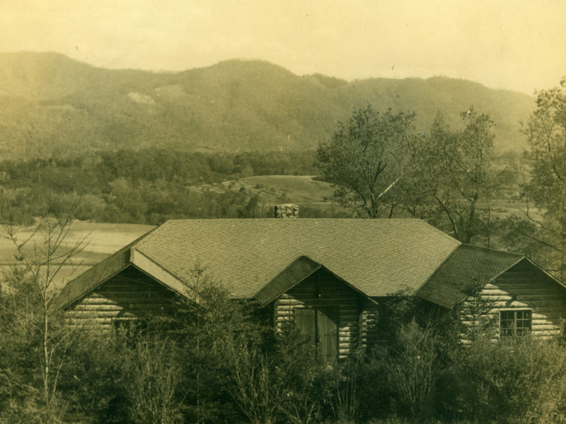 Archival image of the Log Cabin