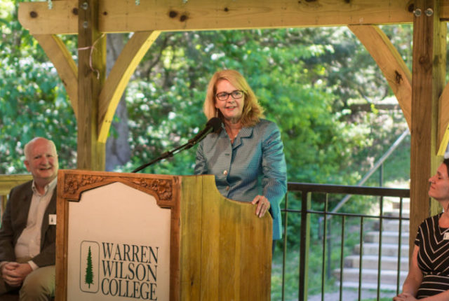 Lynn Morton, Ph.D., addresses the crowd gathered at her announcement ceremony.