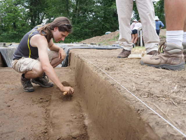 As a member of Warren Wilson College's Archaeology Crew, Michael Thorpe '17 helps excavate a 16th-century Spanish fort in Morganton.