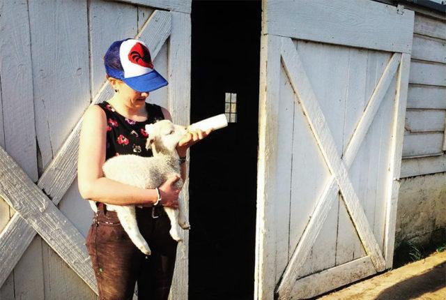 Farm Crew student feeding a lamb