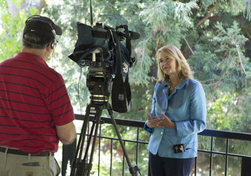 Incoming Warren Wilson College President Lynn Morton speaks with Bill Evans of WLOS ABC 13.