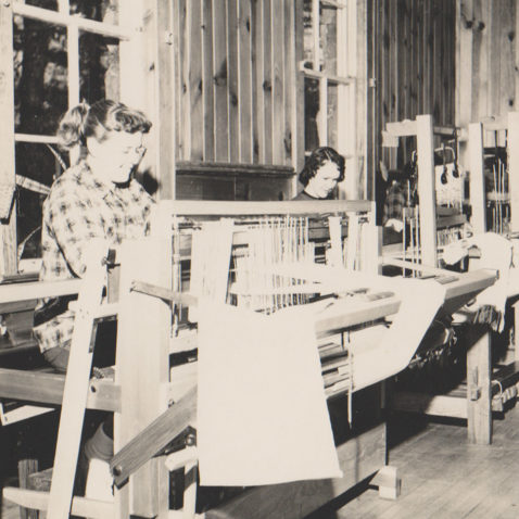 Archival photo of weaving