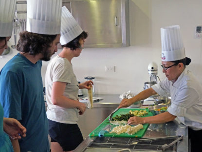 Students cooking traditional Mexican cuisine