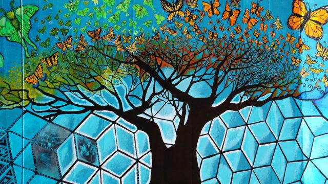 Detail of tree on mural