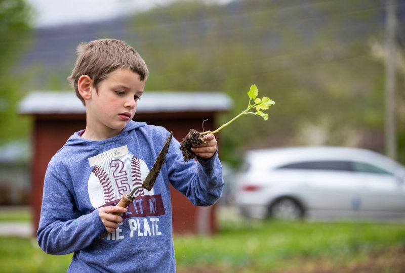 Child in garden